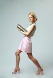 Giovane donna con i taccuini Fotografia Stock