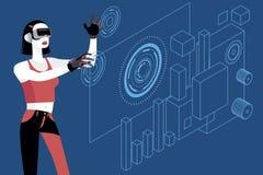 Giovane donna con i vetri di realtà virtuale Immagine Stock