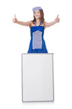 Giovane donna con il bordo in bianco Fotografie Stock