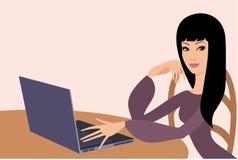Giovane donna con il computer portatile illustrazione di stock