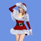Giovane donna con il costume di Santa Claus Fotografia Stock Libera da Diritti