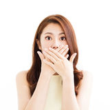 Giovane donna con il gesto sorpreso Fotografia Stock Libera da Diritti