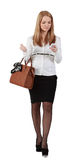 Giovane donna con il mobile Fotografie Stock Libere da Diritti