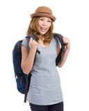 Giovane donna con il sacchetto nel Ba Immagini Stock Libere da Diritti