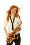 Giovane donna con il sassofono Immagini Stock