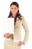 Giovane donna con il segno in bianco fotografia stock