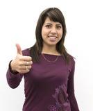 Giovane donna con il segno GIUSTO Fotografia Stock Libera da Diritti