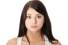 Giovane donna con il singhiozzo immagini stock