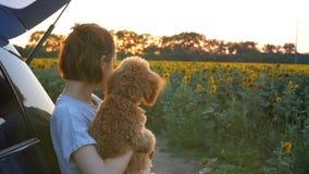 Giovane donna con il suo cane che sta vicino all'automobile stock footage