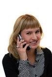 Giovane donna con il telefono mobile Fotografia Stock