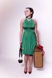 Giovane donna con il viaggio dell'ombrello Fotografia Stock Libera da Diritti