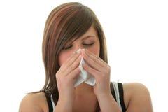 Giovane donna con l'allergia o il freddo Immagine Stock Libera da Diritti