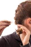 Giovane donna con l'alopecia, isolata su bianco, perdita di capelli di concetto Fotografie Stock