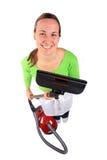 Giovane donna con l'aspirapolvere Fotografia Stock