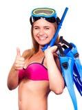 Giovane donna con l'attrezzatura della presa d'aria fotografie stock libere da diritti