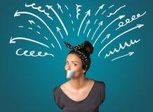 Giovane donna con la bocca incollata Fotografie Stock Libere da Diritti