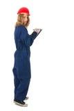 Giovane donna con la lavagna per appunti Fotografia Stock Libera da Diritti