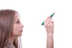 Giovane donna con la penna Fotografie Stock Libere da Diritti