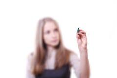 Giovane donna con la penna Immagini Stock Libere da Diritti