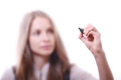 Giovane donna con la penna Immagine Stock