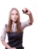 Giovane donna con la penna Fotografia Stock Libera da Diritti