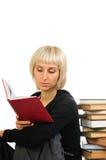 Giovane donna con la pila di libri Immagine Stock Libera da Diritti