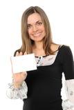 Giovane donna con la scheda bianca Fotografie Stock