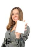 Giovane donna con la scheda bianca Immagine Stock Libera da Diritti