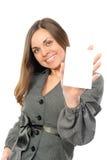 Giovane donna con la scheda bianca Immagini Stock Libere da Diritti