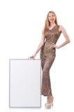 Giovane donna con la scheda in bianco Fotografie Stock