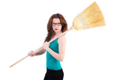 Giovane donna con la scopa Fotografie Stock Libere da Diritti