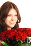 Giovane donna con le rose Immagini Stock