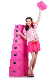 Giovane donna con le scatole di stoccaggio Fotografia Stock
