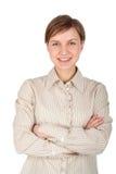Giovane donna con le sue braccia attraversate Immagini Stock