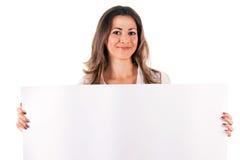 Giovane donna con lo spazio in bianco Fotografia Stock Libera da Diritti