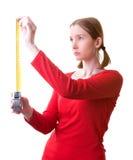 Giovane donna con nastro adesivo Immagini Stock