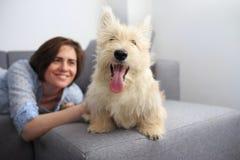 Giovane donna con un cane a casa Fotografia Stock