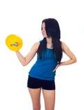 Giovane donna con un dumbbell Fotografia Stock Libera da Diritti