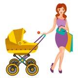 Giovane donna con una carrozzina Fotografia Stock Libera da Diritti