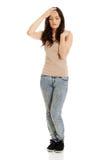 Giovane donna con una febbre Fotografia Stock Libera da Diritti