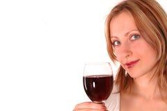 Giovane donna con vetro di vino Fotografia Stock Libera da Diritti