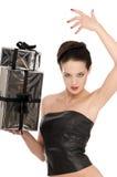 Giovane donna in corsetto di cuoio Fotografie Stock Libere da Diritti