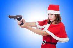 Giovane donna in costume rosso di Santa Immagini Stock