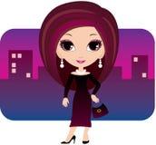 Giovane donna del fumetto in una città illustrazione di stock