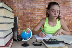 Giovane donna dell'allievo con i lotti dei libri che studia per gli esami Fotografia Stock Libera da Diritti