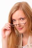 Giovane donna dell'allievo con i vetri Fotografie Stock Libere da Diritti
