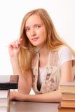 Giovane donna dell'allievo con il taccuino ed i libri Fotografia Stock Libera da Diritti