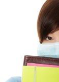 Giovane donna dell'allievo con la mascherina Immagini Stock
