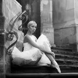 Giovane donna della ballerina che posa sulle scale Fotografia Stock Libera da Diritti