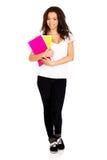 Giovane donna dello studente con le note Fotografia Stock